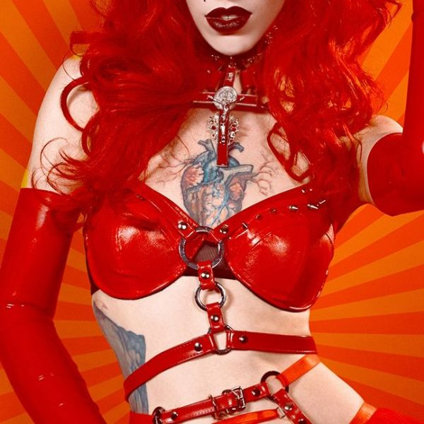 Red Faux Leather O Ring Harness